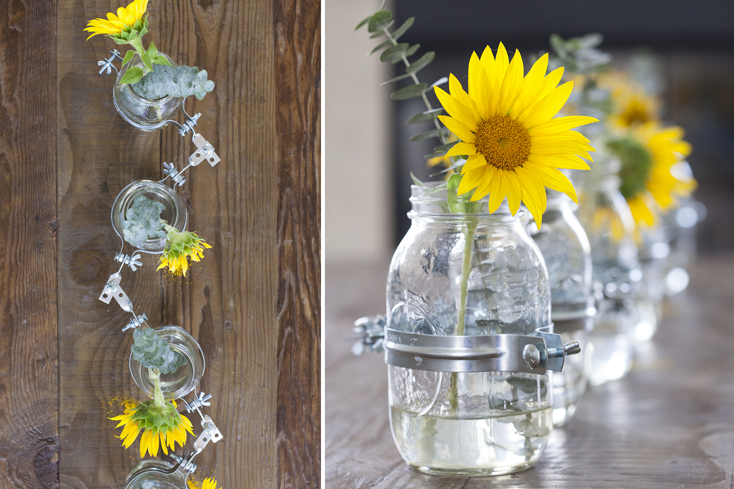Diy Clamped Mason Jar Vase Centerpiece